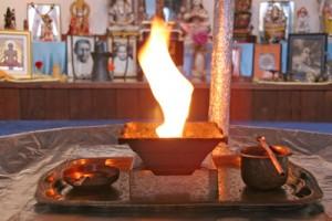 agnihotra ritual, vedic fire, fire flame, copper plate, temple