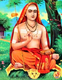 Saint Sri Shankaracharya sitting on a tiger skin