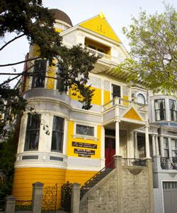 Yellow victorian era building in san francisco
