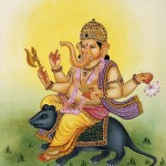 Lord Ganesh riding a mouse